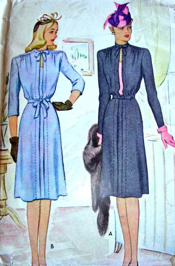 ONBESNEDEN * 1940 de McCall patroon 5410 * Gorgeous Ladies dag of datum nachtkleedje met unieke bogen & Topstitching * grootte 20 * buste van 38