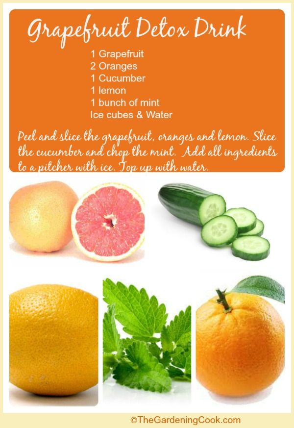 Grapefruit detox drink with oranges, lemon, cucumber and mint.