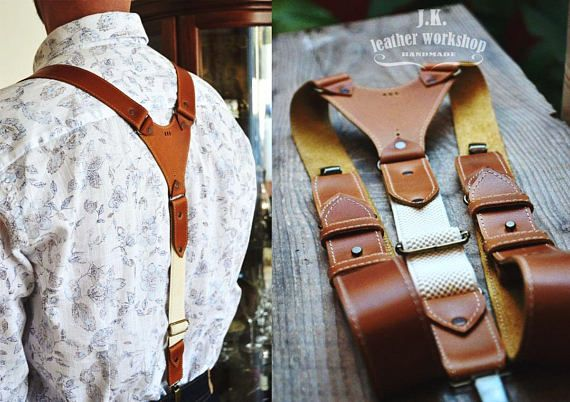 SALE Personalized leather suspenders Mens leather suspenders