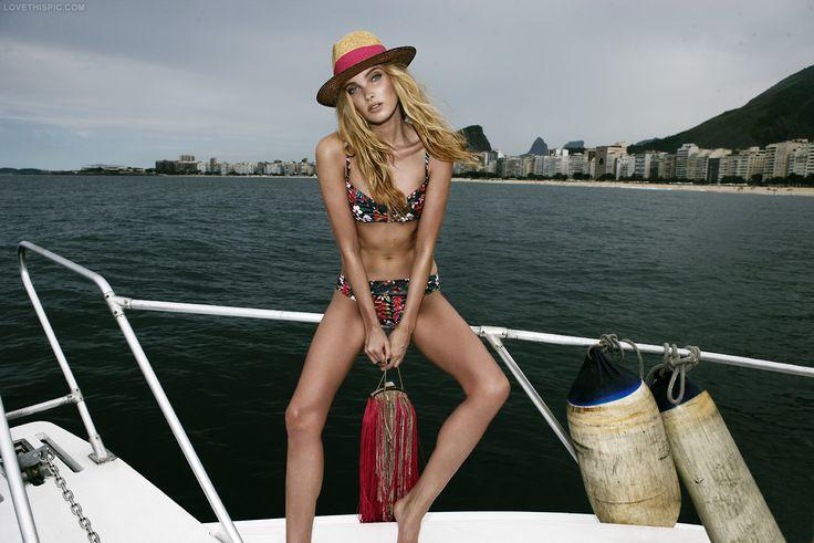 Boating fashion red hat bikini fringe trend fashion photography