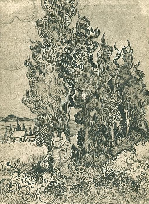 Vincent van Gogh, Cypresses with Two Women in the Foreground, Saint-Rémy: February, 1890