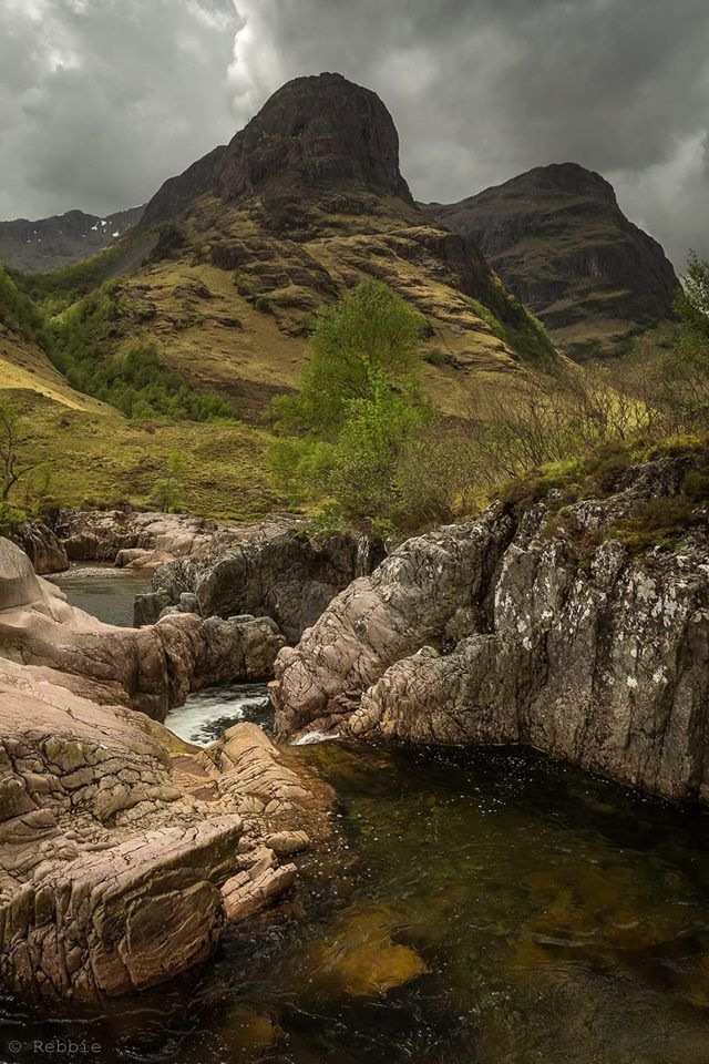 Two of The Three Sisters of Glencoe in the rugged but majestic Highlands of Scotland