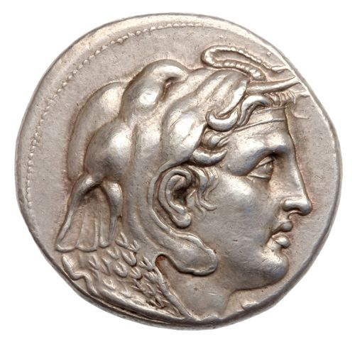 drachma coin (tetradrachm) of Ptolemy I Soter (323–305 BC). This shows the head of Alexander the Great, with the ram's horn of Zeus Ammon, clad in an elephant skin and aegis. This is one of the earliest coin portraits of Alexander.  Production place: struck at Memphis, Egypt Date: around  318 BC Silver - Hellenistic  #drachma #Macedonia #Hellenistic