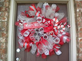 DIY Christmas Deco Mesh Curly Wreath