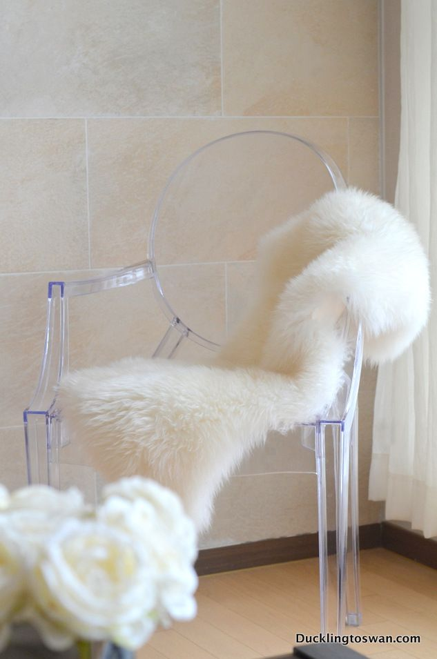 My New Louis Ghost Chair With Sheepskin Throw :)   See More At  Ducklingtoswan.