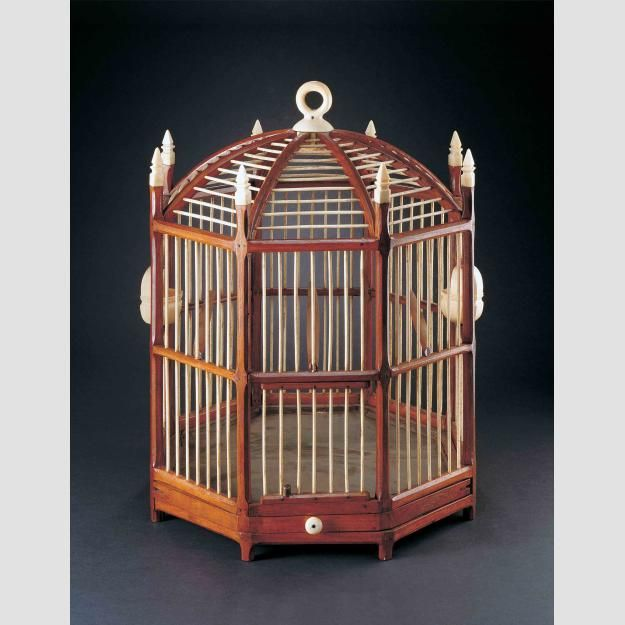 "BIRDCAGE/ Joseph W. Clapp (1825–?), Massachusetts, United States, c. 1860, Peruvian mahogany, whalebone, sheet metal, and brass pins,18 1/2 × 15 1/2 × 15 1/2"", gift of Kristina Barbara Johnson, collection of the American Folk Art Museum, New York, 2008.17.1 Photo credit: John Parnell."