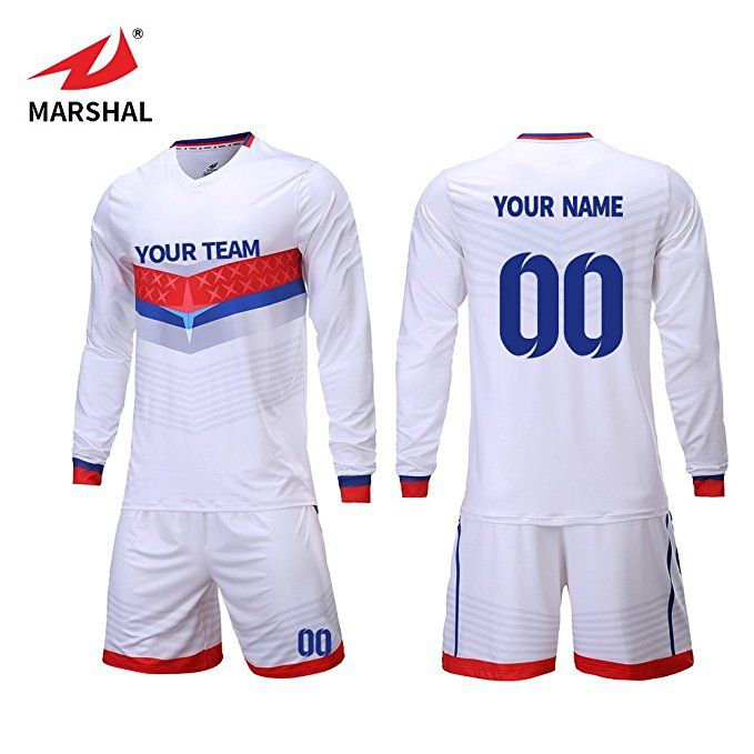 Marshal Jersey Full Sublimation Fabrics White Jersey Custom Soccer Jerseys Custom Your Team Name An Fall Football Outfit Football Outfits Football Jersey Shirt