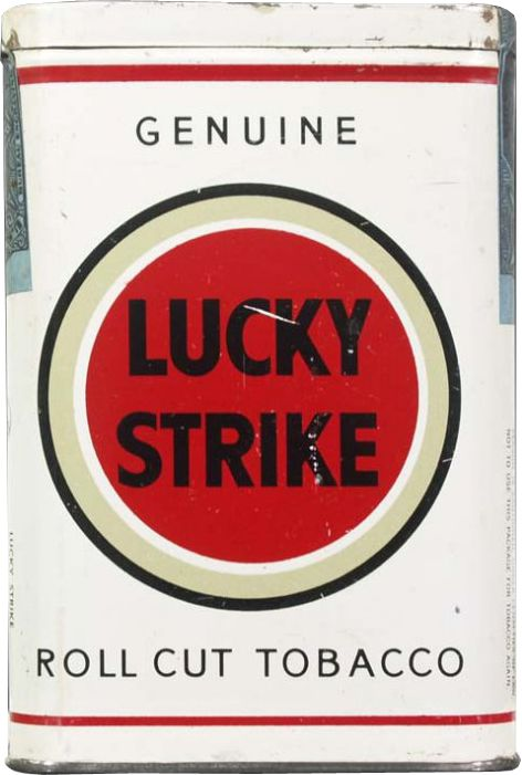 This is the rarest and most valuable of Lucky Strike Tobacco tins. It was produced for a couple of months in the early 1940s just before cigarette packs replaced these tins and the unrolled tobacco for good.