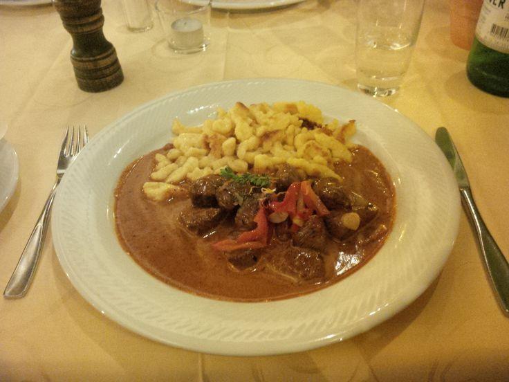Beef filet goulash stroganoff with spaetzle @ Restaurant Belfort
