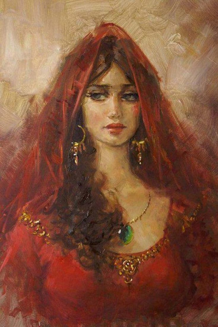 Portrait of a Beautiful Gypsy Woman.: