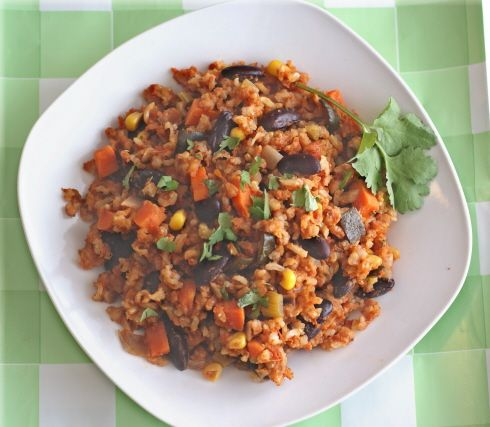 Seven Grain Dirty Rice and Beans: the ultimate healthy, economical meal! You probably have all these ingredients on hand already--and so tasty! #vegan #recipe #glutenfree