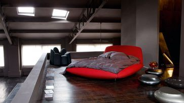 Bedroom: Elegant Yet Modern Attic Bedroom Design Including Wooden Floor Plus Red Bed Design And Metal Furniture And Lamp from 7 Basic Tips for Bedroom Design Ideas