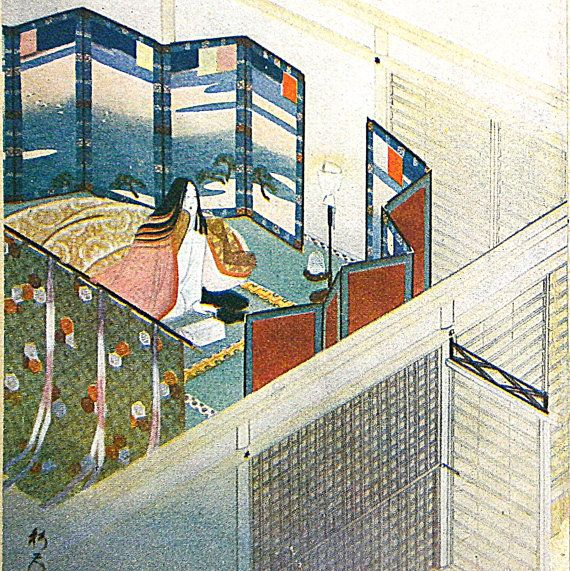 Vintage Japanese Print Woman and Spring Dawn by VintageFromJapan, $12.00