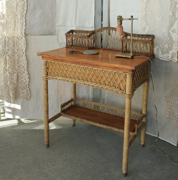 Antique Heywood Wakefield Oak And Wicker Desk Dressing