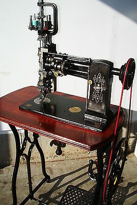 Lintz & Eckhardt , Rare Exquisite Antique Sewing Machine,crank,treadle,mahogany