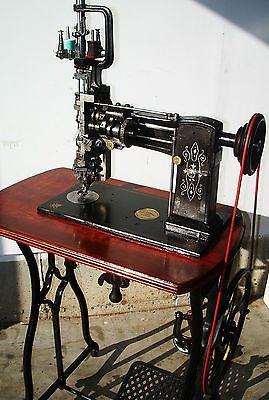 Lintz & Eckhardt , Rare Exquisite Antique Sewing Machine,crank,treadle,mahogany