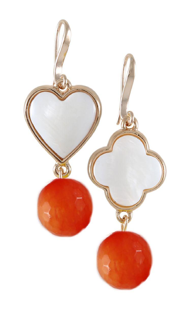 Lucky Clove & Heart Earrings - Orange Agate | Luck & Love #designerearrings #designerjewellery #designerjewelry #jewellery #earrings #Duchess #fashion #designerfashion