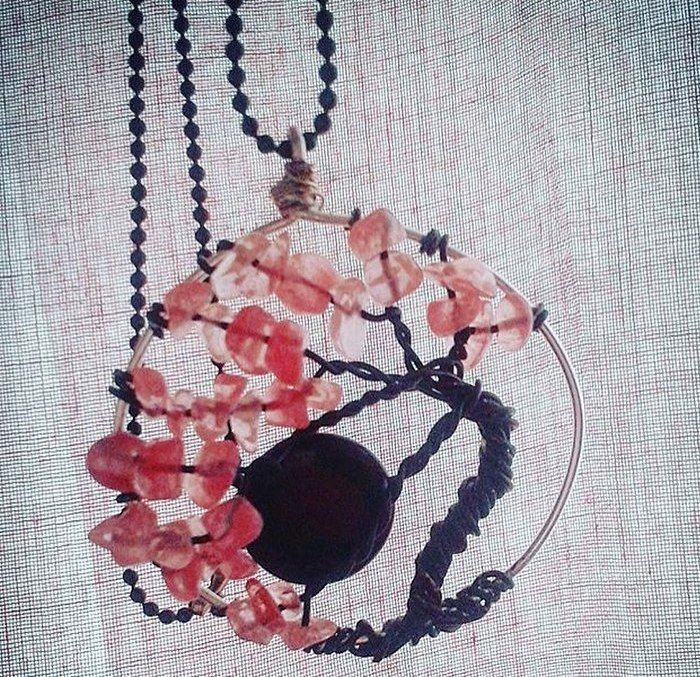 cherry tree of life pendant with blue star moon