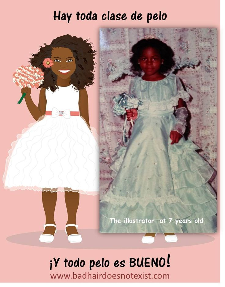 """""""Bad Hair Does Not Exist"""" is a book that was created to empower little girls so they can embrace and love their beautiful natural hair. Fun illustrations were created to help describe This illustrations were inspired by the experiences of the illustrators while growing up. Written by Sulma Arzu-Brown and illustrated by Isidra Sabio Published by Afro-Latin publishing, Inc."""