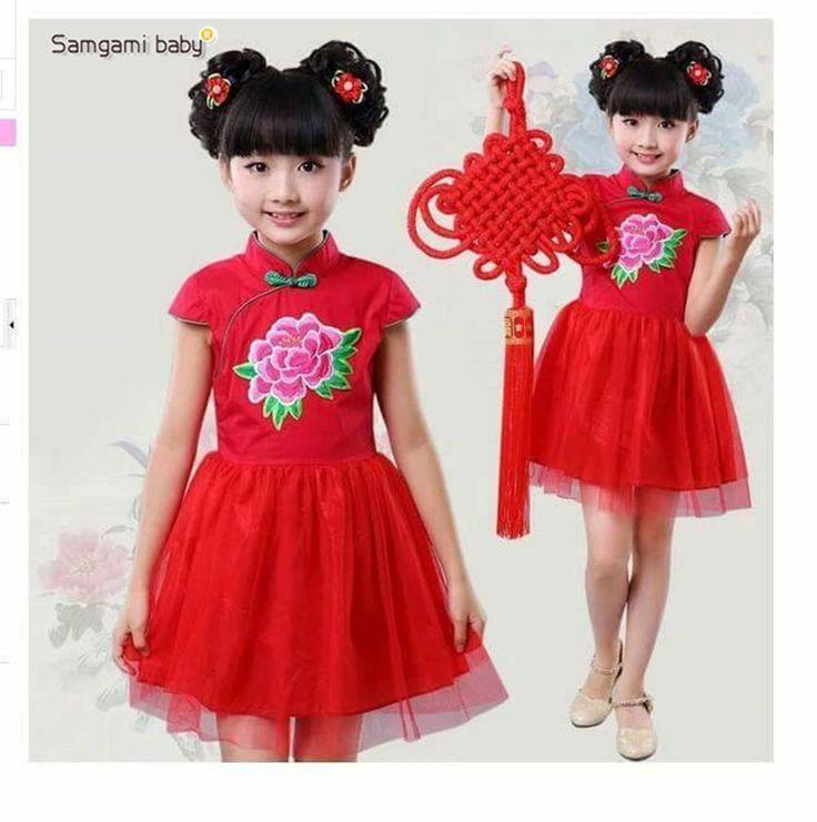 Китайский новый год дети выросли платья платье красный для девушки платье принцессы для девочек свободного покроя милый ну вечеринку Infantis китайский стиль