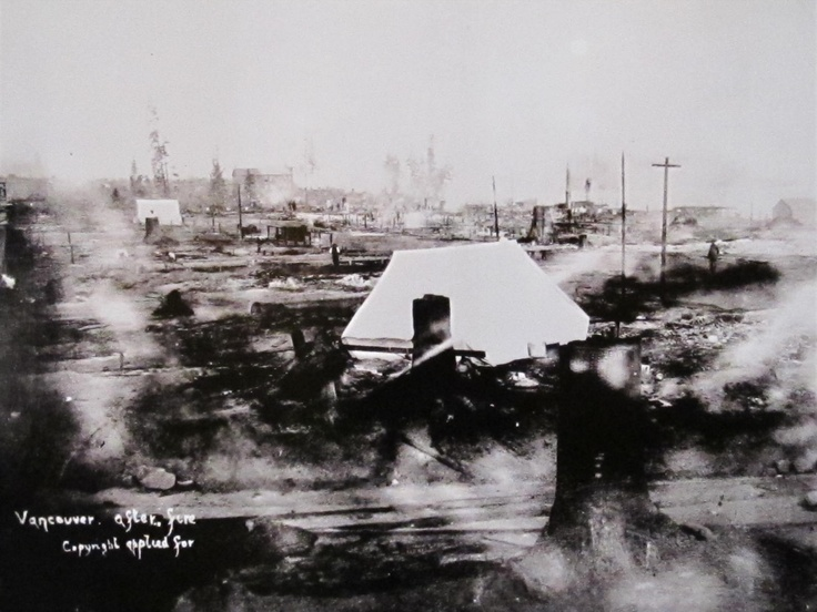 The morning after the Great Fire of Vancouver, 1886.