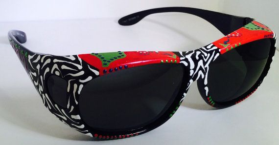 "Hand Painted "" Fit overs"" Sunglasses ""Raging Red ( sunglasses that fit over your own glasses), custom made especially 4 you."