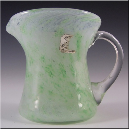 Nazeing/Elwell's Clouded Green Glass Creamer - Labelled £19.99