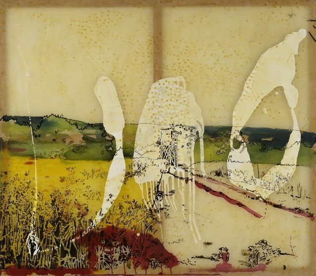 SIGMAR POLKE Watchtower in the Eifel Region, 1987 Acrylic and lacquer on cotton 51 1/2 × 59 2/5 in 130.8 × 151 cm bpk, Berlin / Hamburger K...