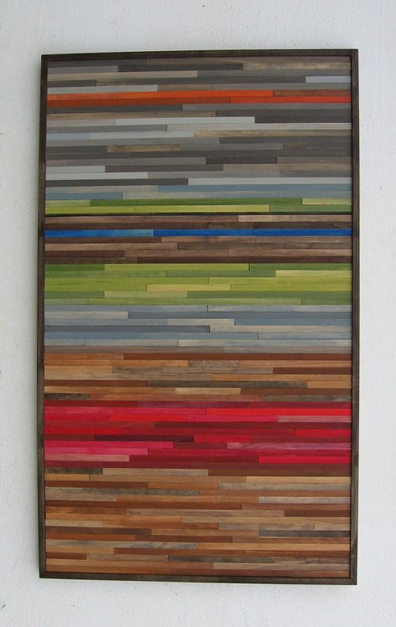 Abstract Painting on Wood Wall Sculpture by ModernRusticArt