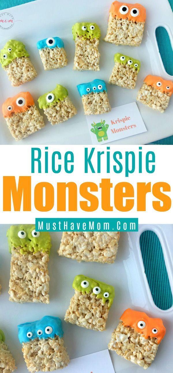Rice Krispie Bar Monsters Recipe Holidays Halloween Monster