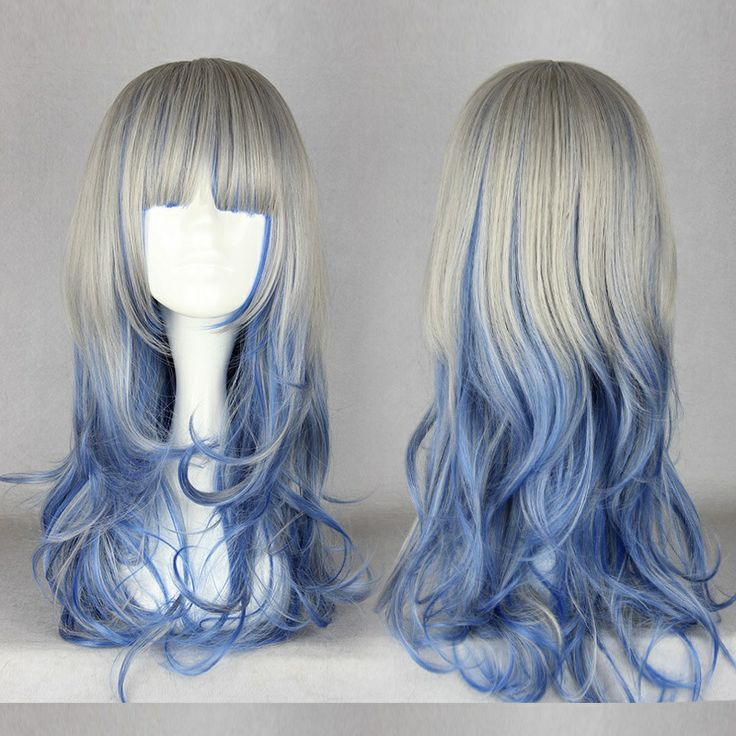 """20""""Long Wave Dual-Color Hair Wig Blue&Gray Harajuku Wig Wholesale  Price 5PCS/LOT Blue Gray Factory Outlet Welcome Wholesale US $40.00"""