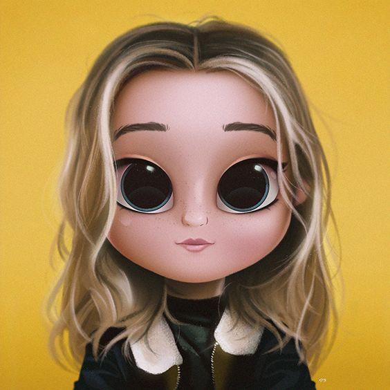 Cartoon, Portrait, Digital Art, Digital Drawing, Digital Painting, Character Design, Drawing, Big Eyes, Cute, Illustration, Art, Girl, Sabrina Carpenter, Yellow, Jacket