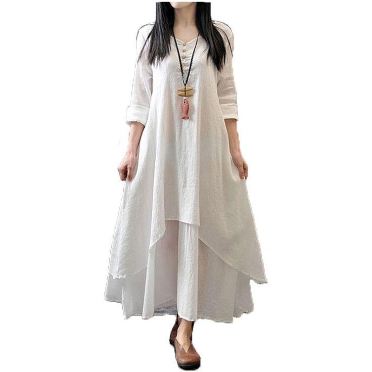 Top Fashion  Autumn Women Casual Loose Long Sleeve Dress Cotton Linen Solid Long Maxi Dress Vestidos Plus Size S-5XL