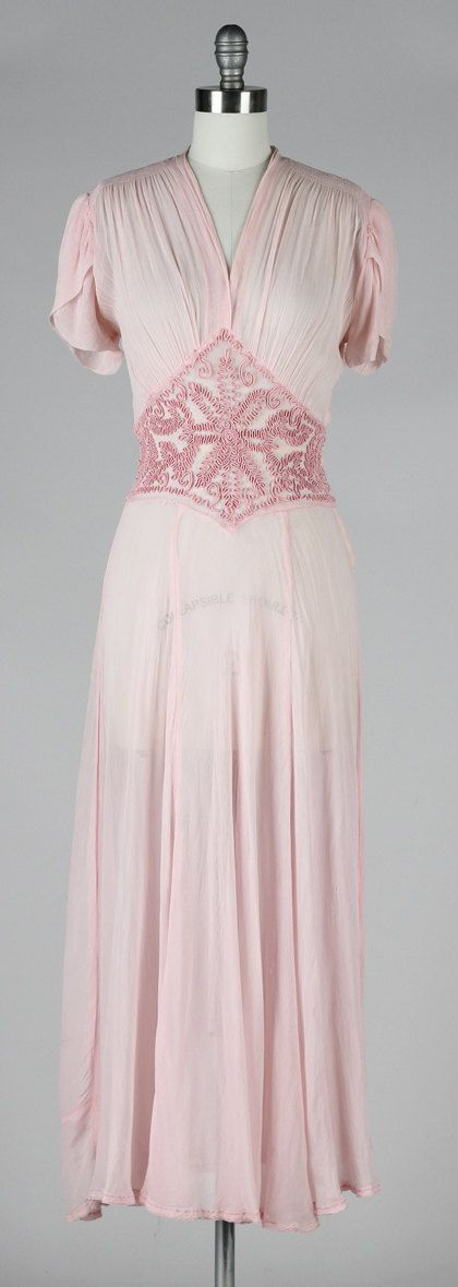 Gorgeous vintage 1930s pink sheer mesh with soutache stitching dress Women's vintage party fashion clothing outfit for summer