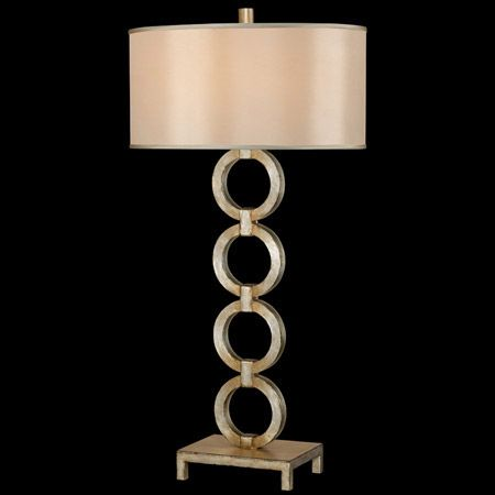 Four circles are linked together as a vertical chain in this contemporary lamp base. The finish is a rich platinized silver and it has a hand-tailored silk shade. CALL TOLL-FREE 1-866-339-5060 FOR BEST PRICE.