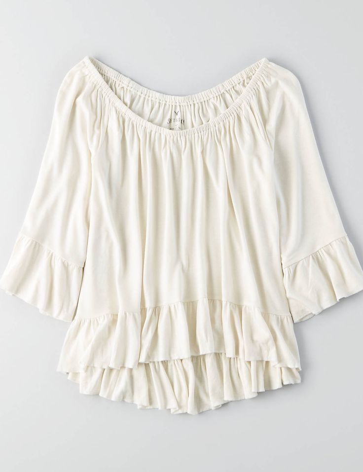 AEO Soft & Sexy Ruffle T-Shirt , Blue | American Eagle Outfitters