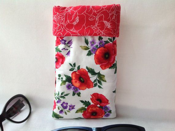 New item fresh from my Janome Memory Craft 9900 in the shop now.Sunglasses & Eyeglass Case, Thickly Padded, Hidden Magnetic Snap for Security, Fully Lined, Red Poppies, Purple Flowers Stunning Red Lining.