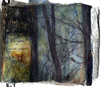 Guardians of Sacred Places by Bridgette Guerzon Mills - encaustic and mixed media on plaster, page from artists book Book of Trees    http://bgmartjournal.blogspot.com/2009/03/book-of-trees.html