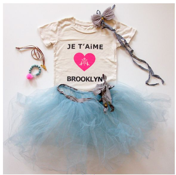 Je T'aime Brooklyn onesie dressed up to be a little ballerina.