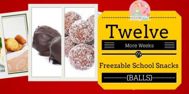 Twelve More Weeks of Freezable School Snacks   Stay at Home Mum: 1.Peanut Butter Balls; 2.Apricot Balls; 3.Coconut Cream Balls; 4.Zucchini and Parmesan Balls; 5.Milo Balls