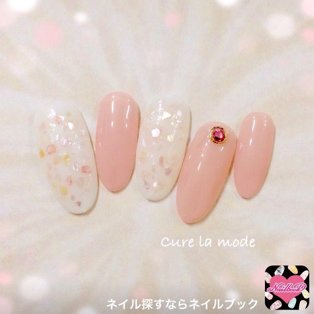 ネイル 画像 Cure la mode 黒磯 1501305 パステル 白 ピンク ワンカラー シェル デート オフィス 春 ソフトジェル ハンド