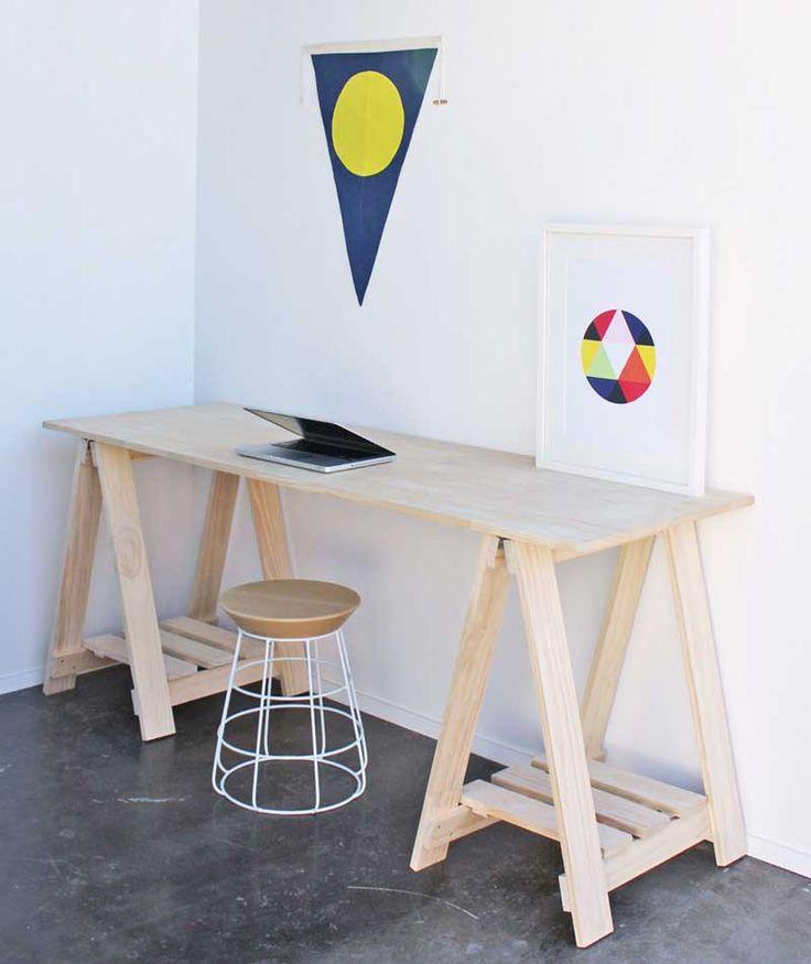 Trestle Desk with Shelves. www.companyandthings.com