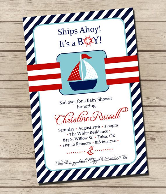 PRINTABLE  Sailboat Baby Shower Invitation   by UrbanFrontiers, $12.00