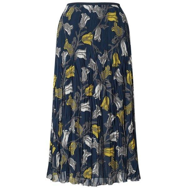 East Tulip Print Pleat Skirt, Sapphire (6.220 RUB) ❤ liked on Polyvore featuring skirts, flower print skirt, floral print skirt, draped skirts, flare skirt and flared skirt