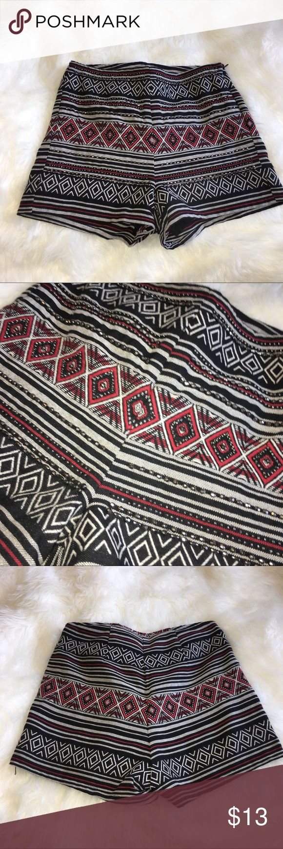 Divided H&M highwaisted Aztec print shorts size 4 Aztec red white and black highwaisted shorts from Divided H&M. Size 4. Has beading on front. Side zip. Good condition. H&M Shorts