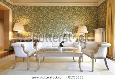 interior luxury apartment, comfortable classic living room - stock photo