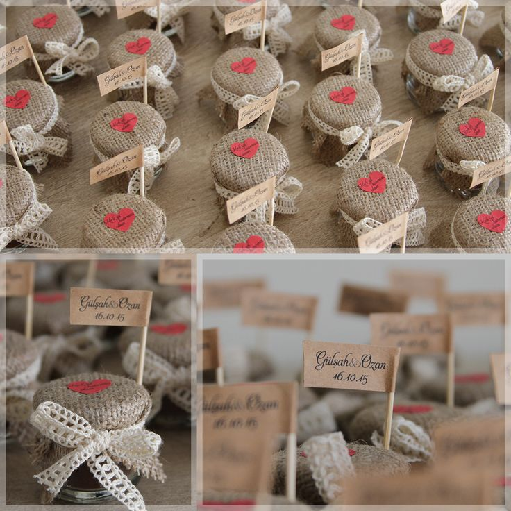 """Lovely Colors // Kavanozda Türk Kahvesi, Çuval kumaş ve pamuk dantelle süslediğimiz Türk Kahvesi Kavanozlarını """"Kırk yıl hatırları olsun diye"""" Gülşah&Ozan'ın nişan hediyesi olarak hazırladık. Arkadaşlarımıza ömür boyu mutluluklar diliyor, düğünlerini iple çekiyoruz  bilgi&sipariş için: www.lovelycolors.com.tr  Mini Turkish Coffee jar as wedding favor, decorated with natural burlap and cotton lace."""