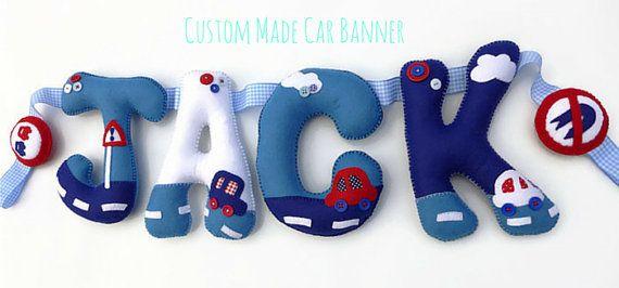 Custom Children's Felt Name Banner Car Themed by PresentsFelt