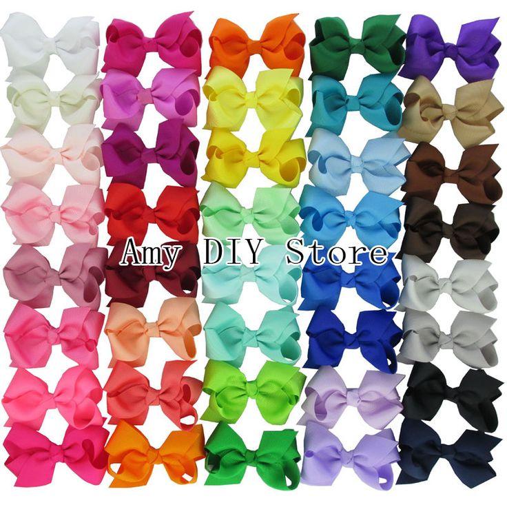 40 stks/partij 40 kleuren 3 ''grosgrain haar lint strikken MET alligator clips boutique voor baby meisjes kinderen kids tieners waggel