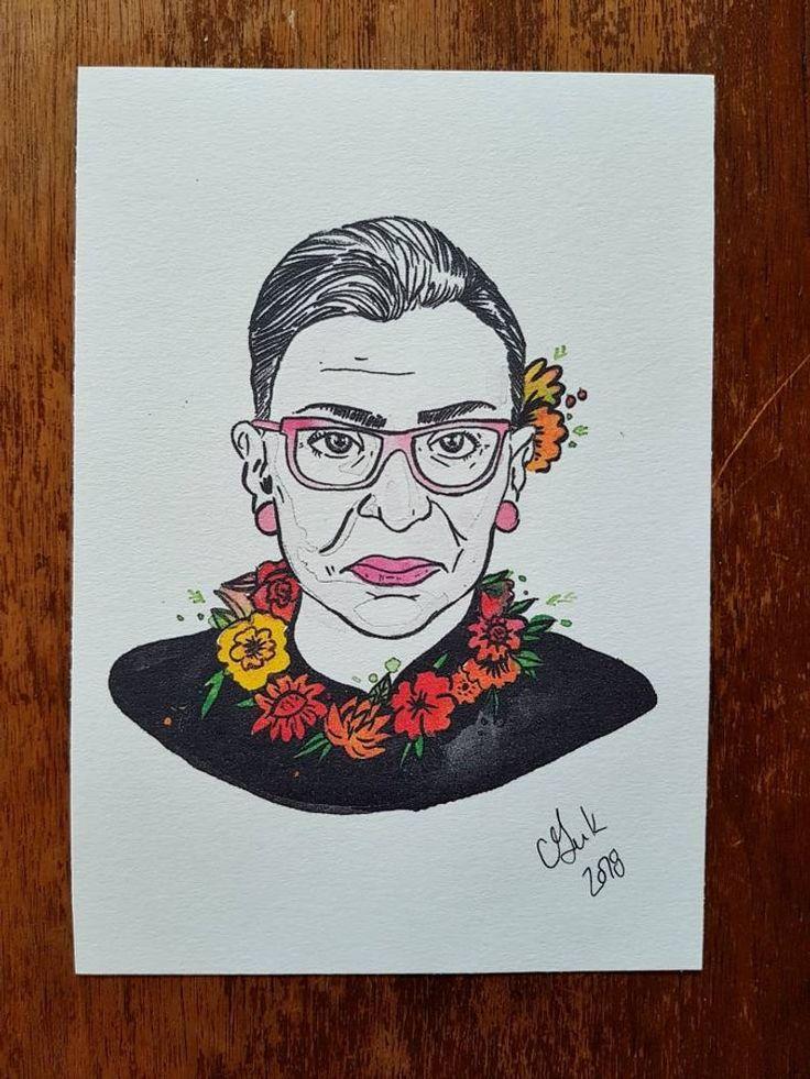 Ruth Bader Ginsburg print Small paintings, Watercolor